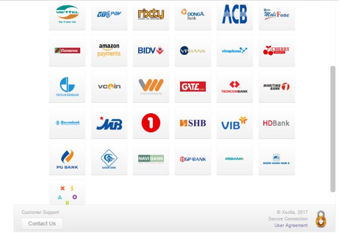 Tại đây bạn sẽ thấy rất nhiều logo nhà cung cấp thẻ nạp tại Việt Nam. Bạn  dùng thẻ của họ để mua Nexon Cash. Bao gồm: